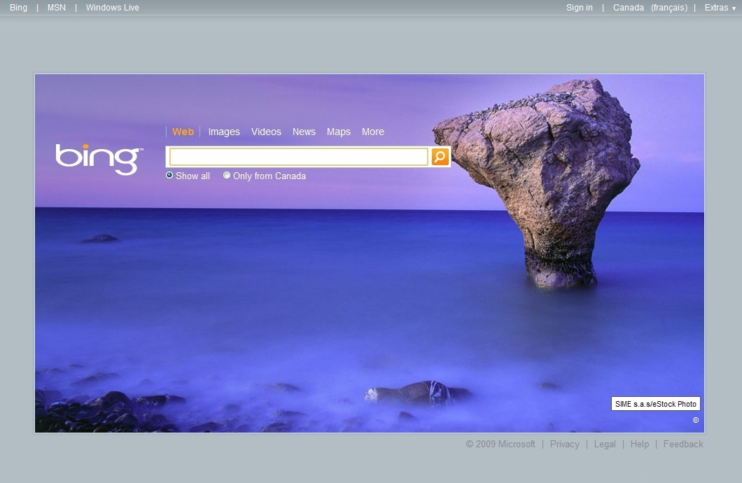 Bing background for July 5th 2009 1060x690