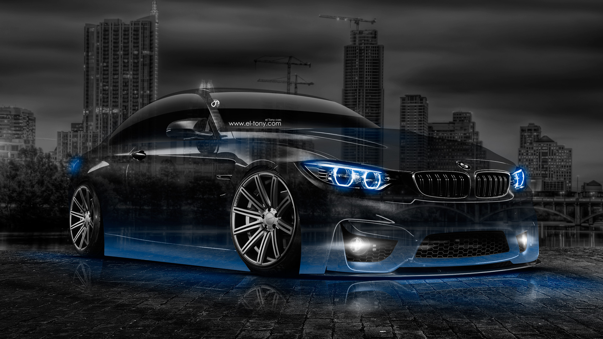 Bmw M4 Crystal City Car 2014 Blue Neon Hd Wallpapers Design By Tony