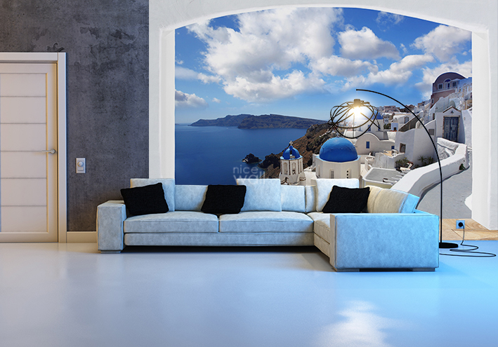 Santorini Greece coast giant wall mural decor 709x495