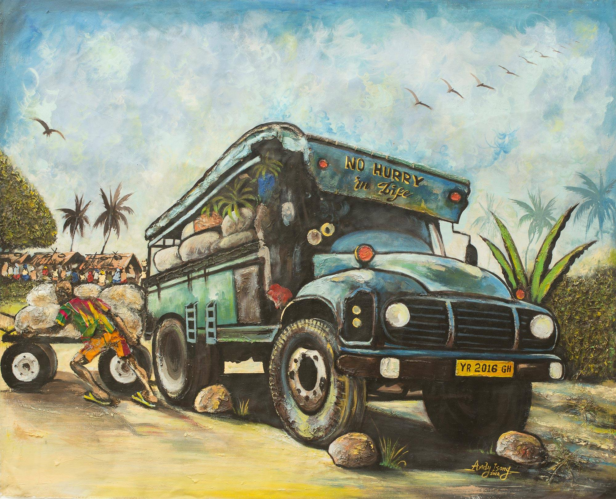 Original Painting of a West African Truck   Trotro I NOVICA 2000x1620