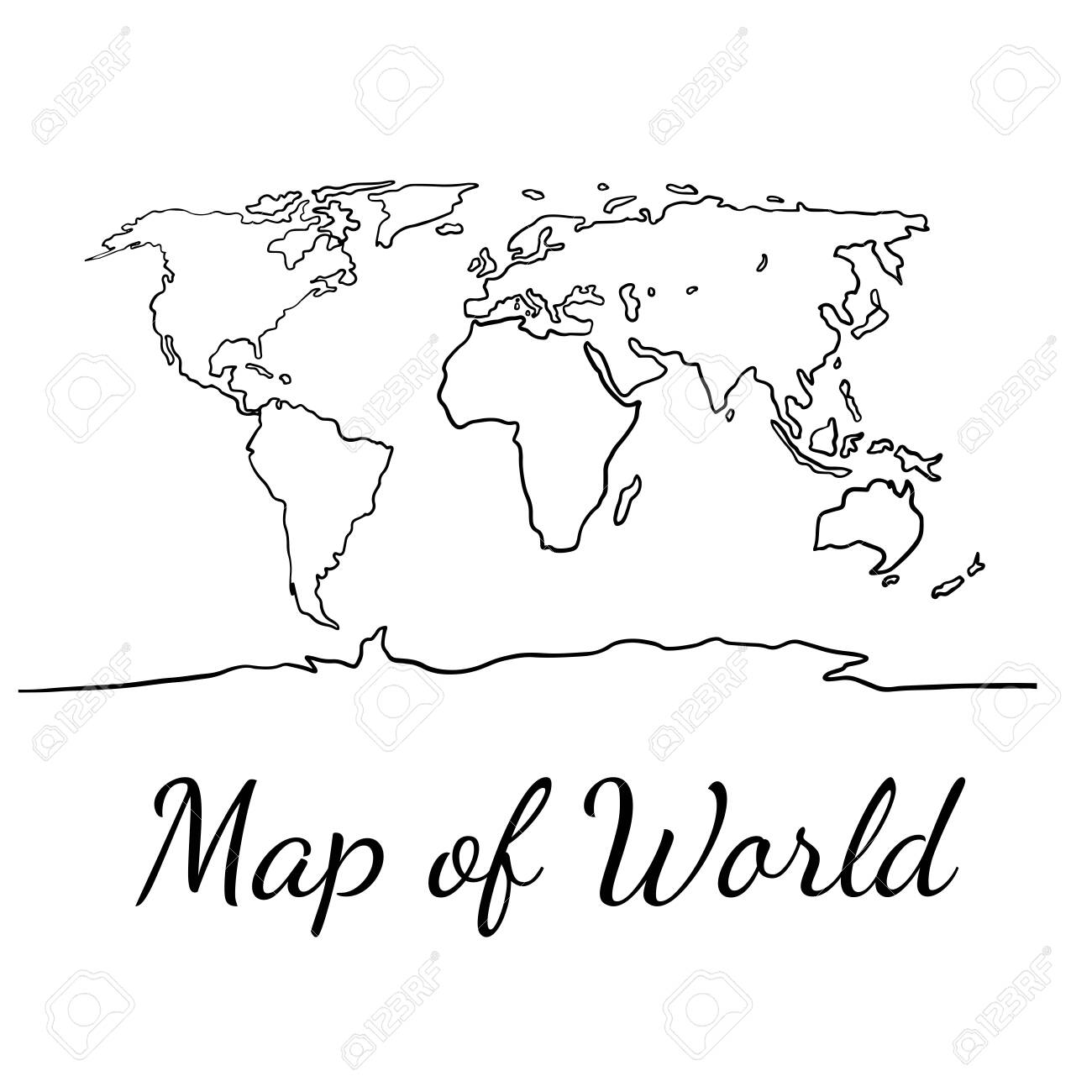 Best Popular World Map Outline Graphic Sketch Style Background 1300x1300