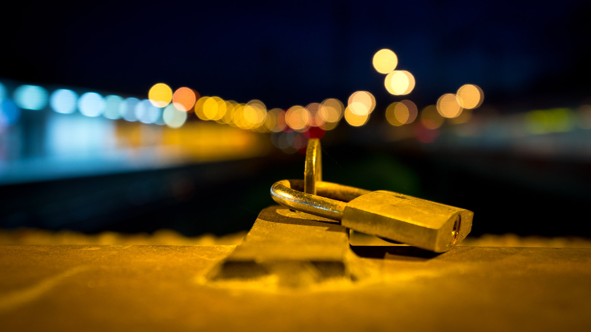 Padlock with Blurred City Lights HD Wallpaper 1080p HD Wallpapers 1920x1080