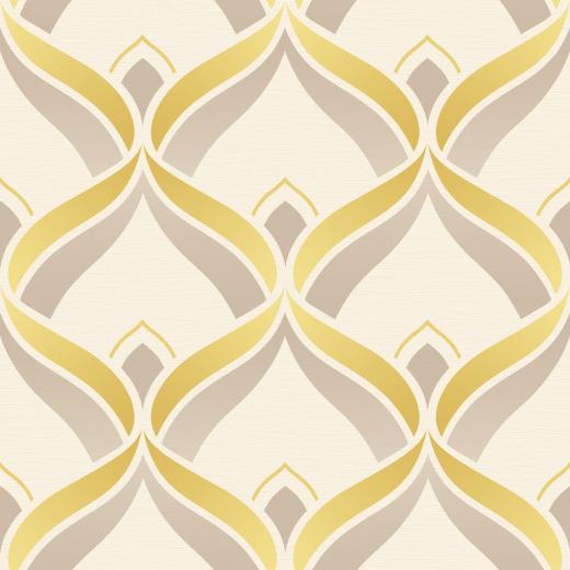 Dettagli su Retr geometrico ART DECO Trellis GIALLO Beige Crema 520x520
