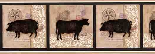 French Cow and Pig Wallpaper Border   8 rolls left 525x185