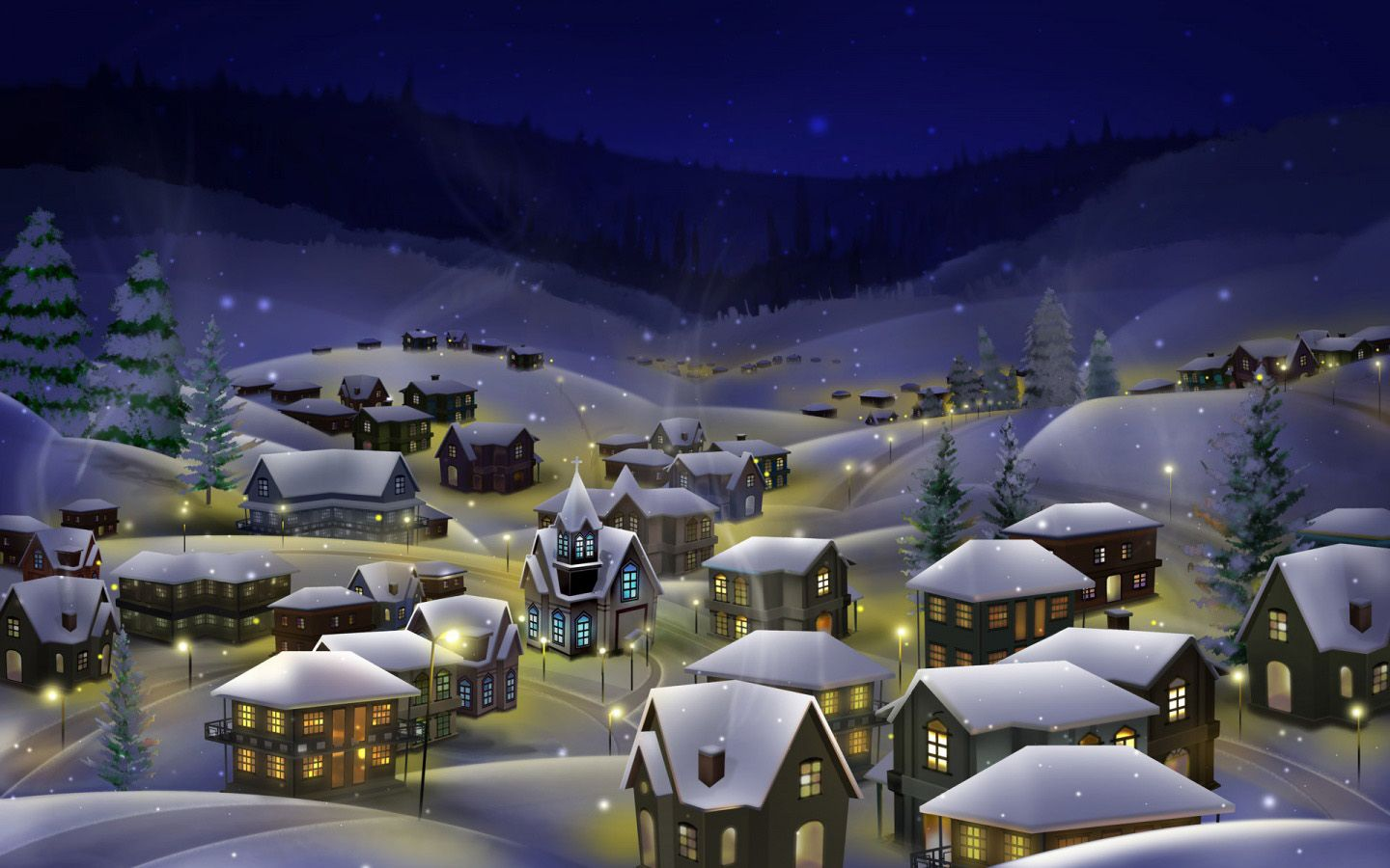 Peaceful Christmas Village   Wallpapers Pictures Pics Photos 1440x900