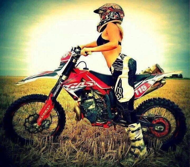Naked girl dirt bike riding a motorcycle you