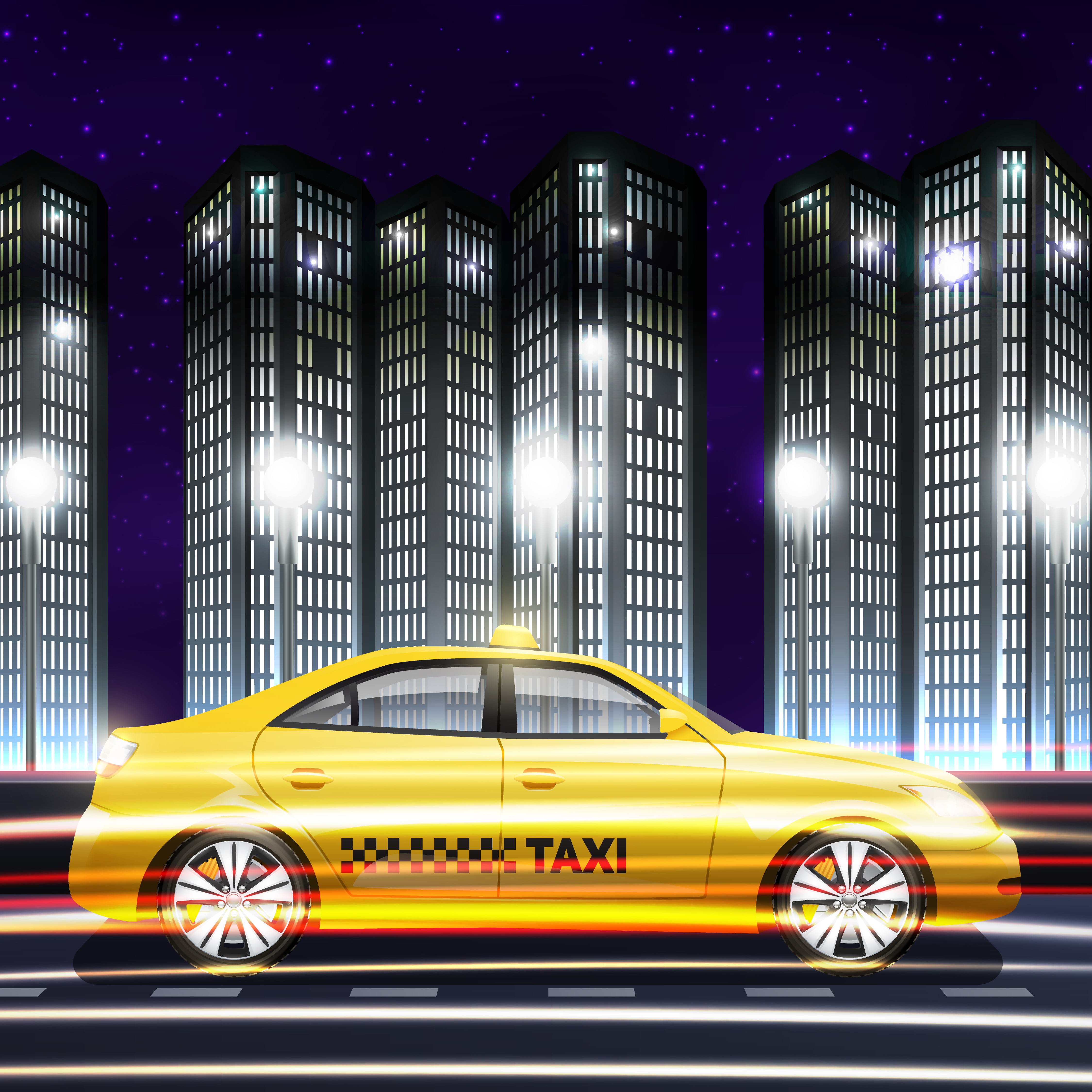 Taxi In City Background   Download Vectors Clipart Graphics 4500x4500