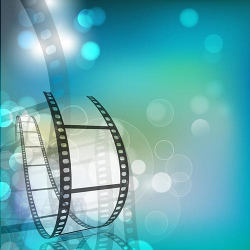 Film strip with fantasy background vector 500x500