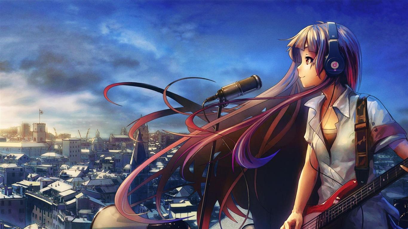 wallpapereupreviewgrey anime girl wallpaper for 1366x768 hd 14 718 1366x768