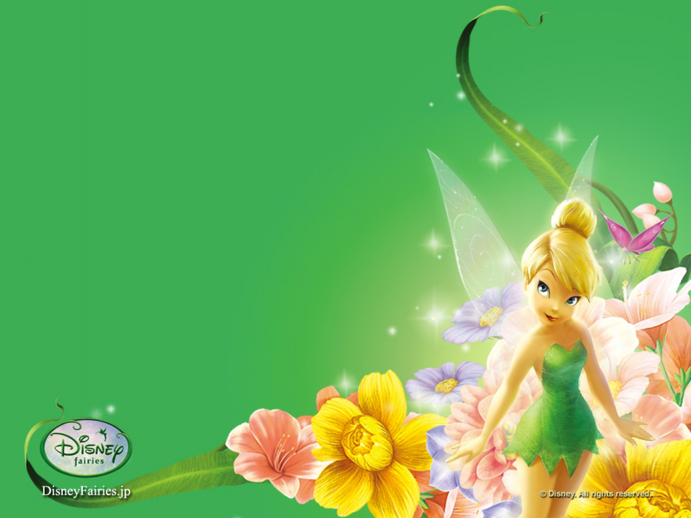 Wallpaper download Tinkerbell green background 1366x1024