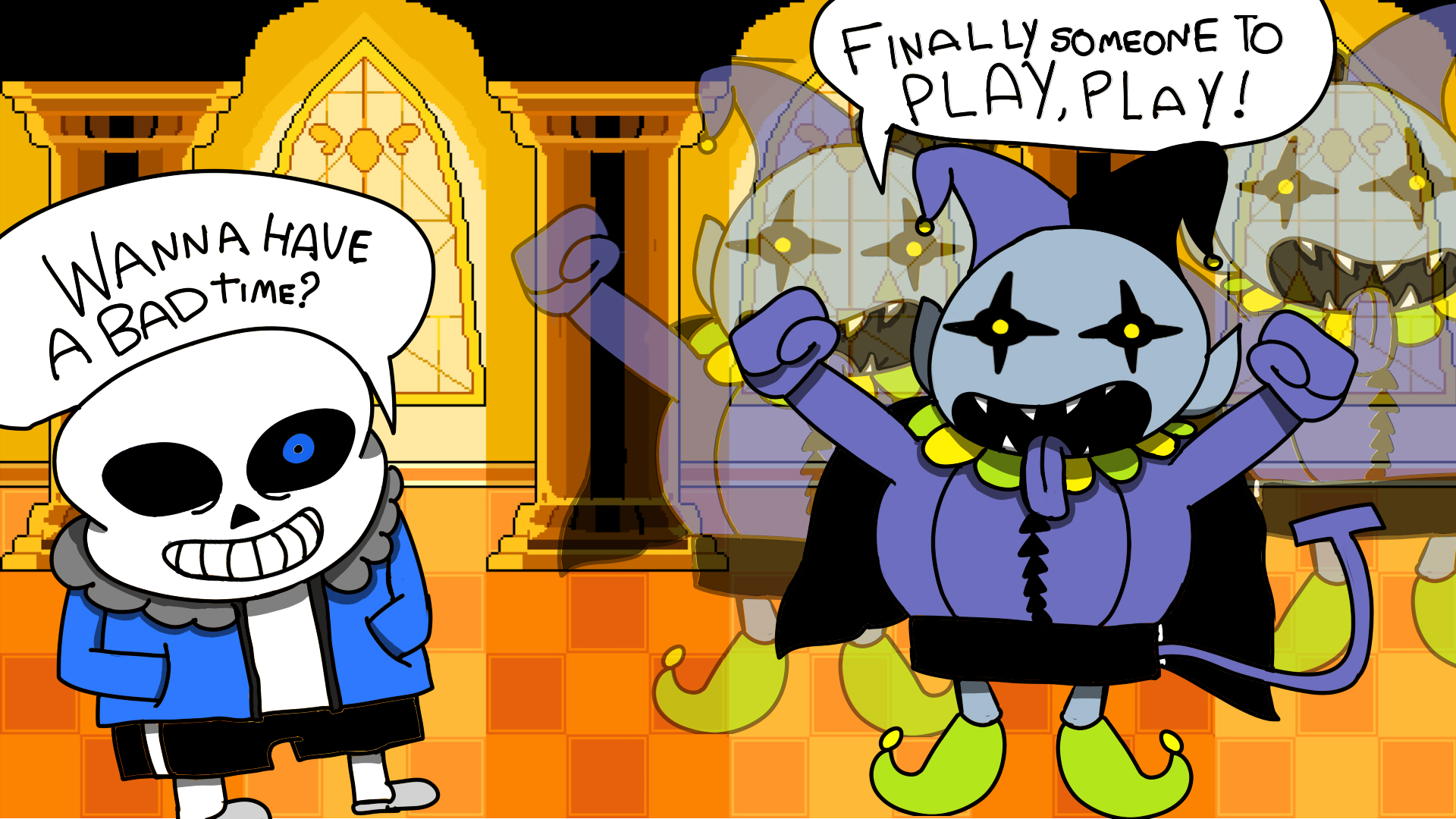 If Jevil meets Sans Deltarune 1920x1080