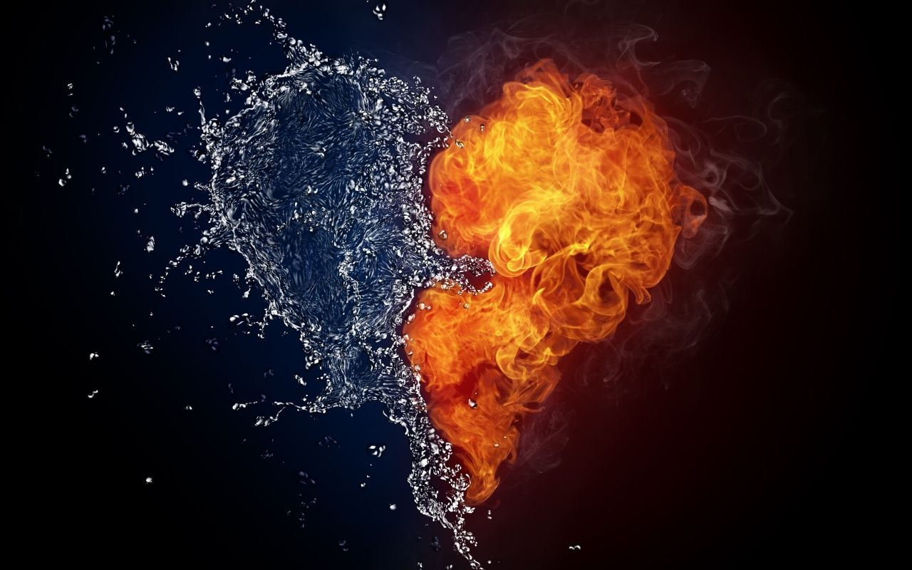 Water And Fire Heart HD Wallpaper Love Wallpapers HD 1280x800