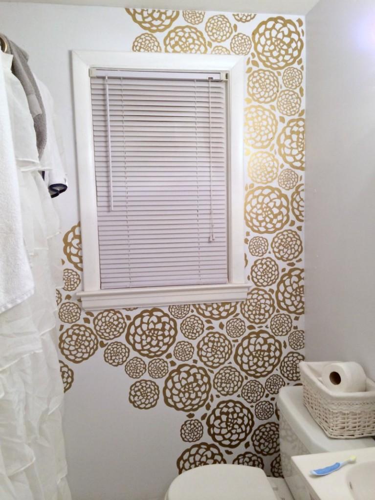 DIY Floral Faux Wallpaper 767x1024