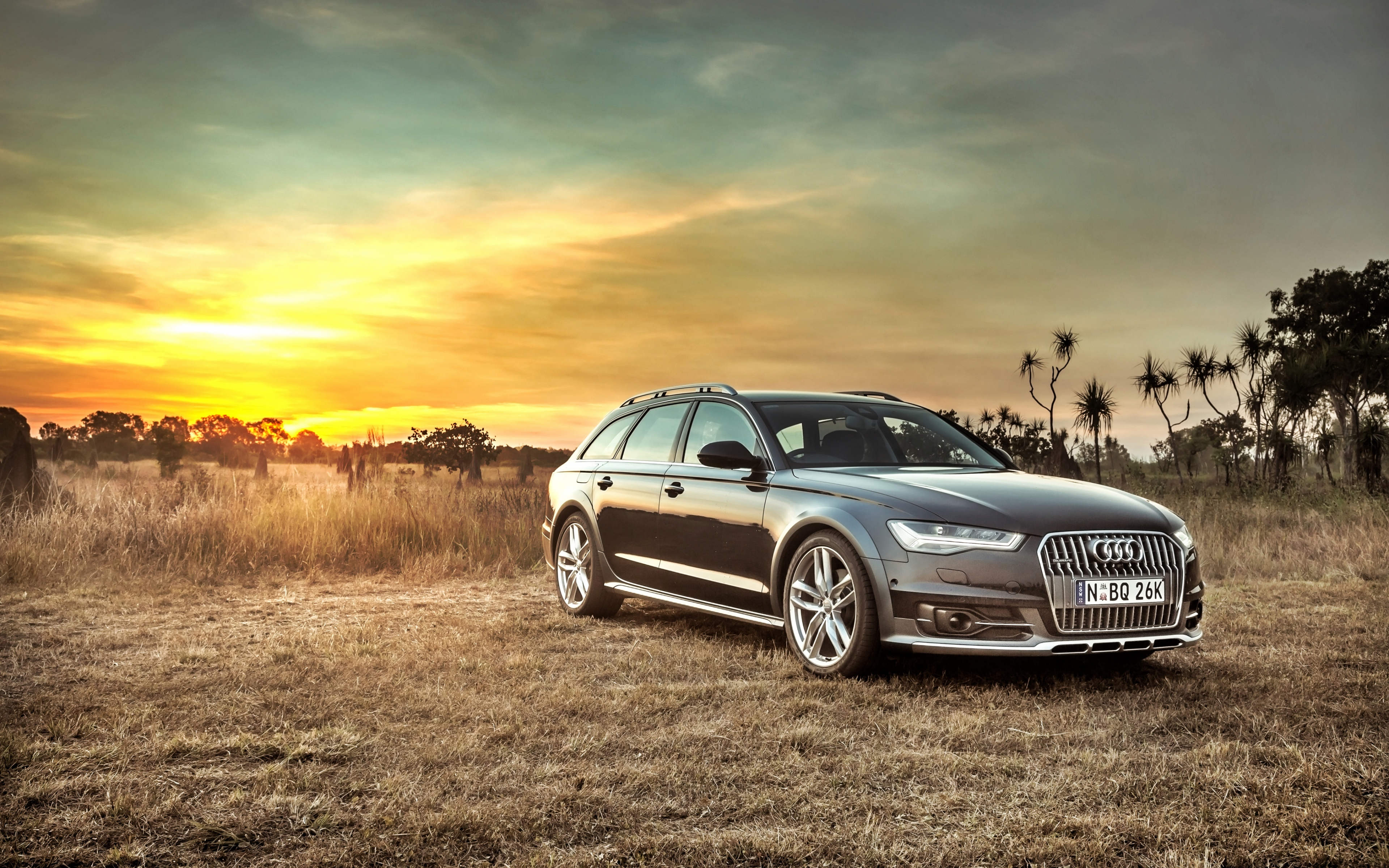 HD Background Audi A6 Allroad Side View Sunset HDR Car 3840x2400