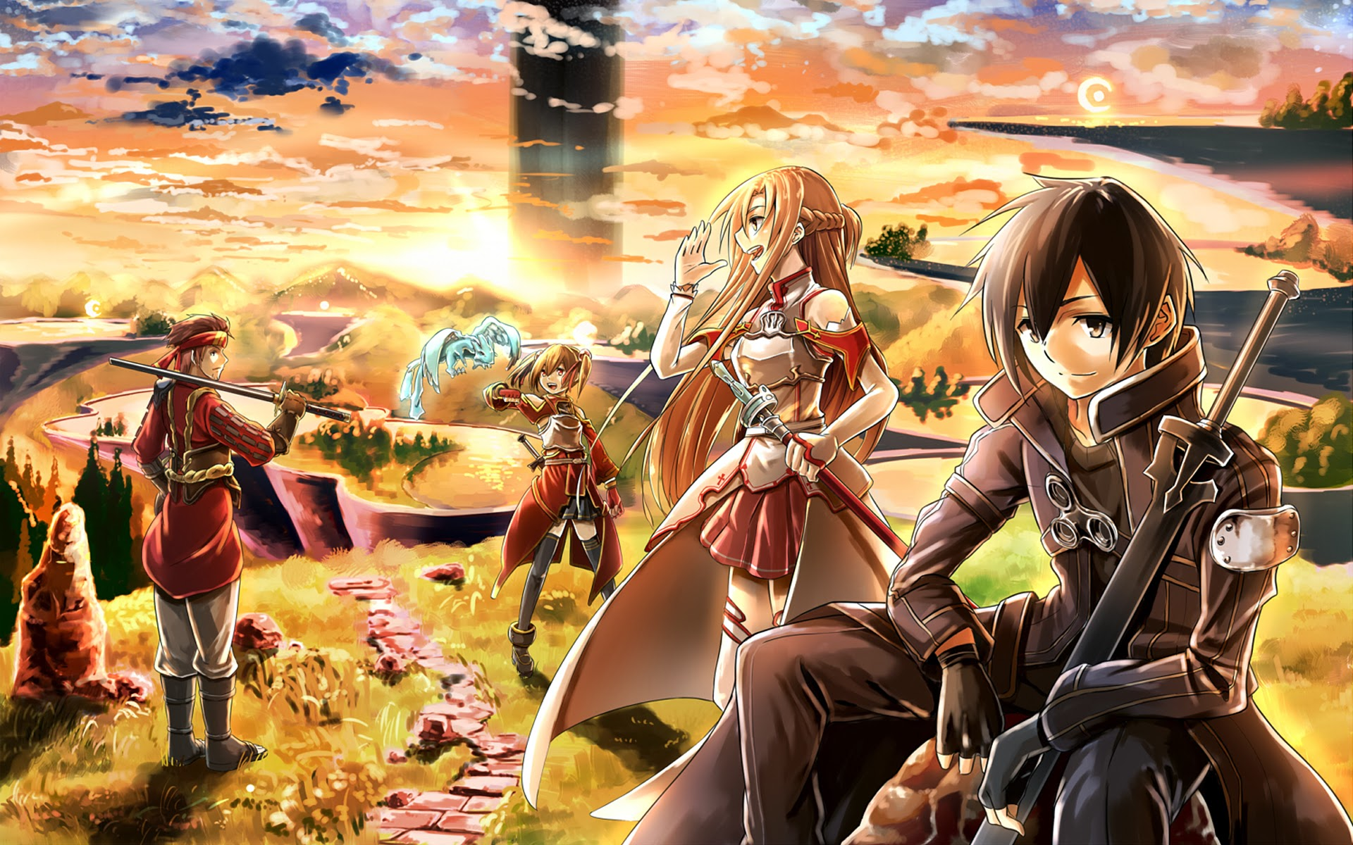 Free Download Sword Art Online Anime Sunset Hd Wallpaper Image