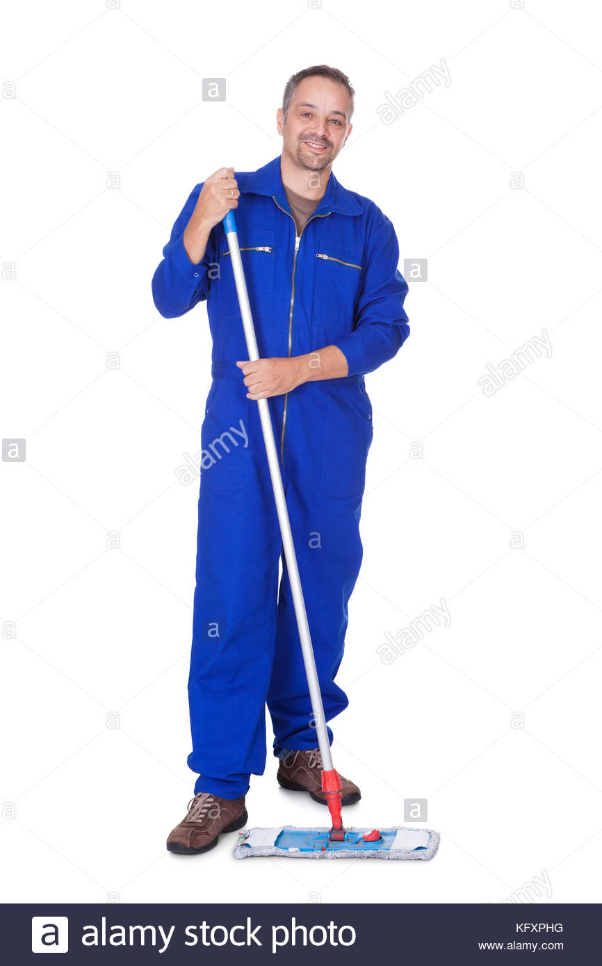 Happy Sweeper Cleaning Floor On White Background Stock Photo 866x1390