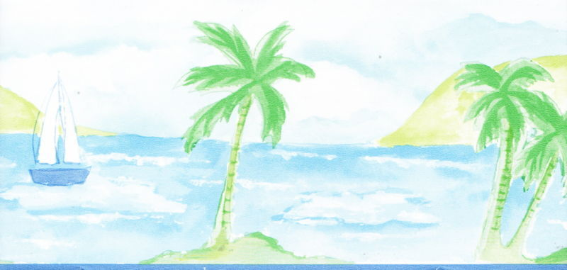 Tropical Palm Tree Sailboat 4 1 8 Bath Room Wallpaper Border Wall 800x381