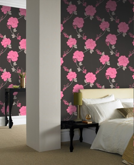 pink wallpaper web Black And Pink Bedroom Wallpaper 447x550