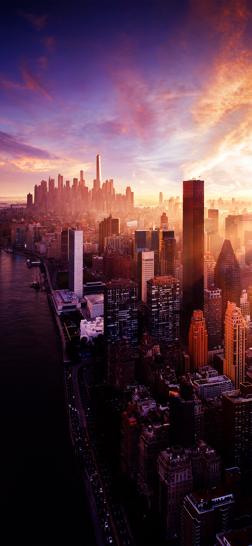 Nyc sunset iPhone wallpaper Pemandangan khayalan Fotografi kota 1299x2813