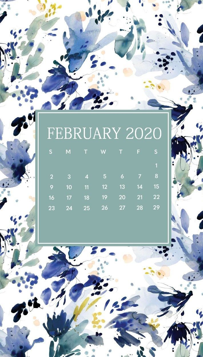 Floral February 2020 iPhone Wallpaper Calendar wallpaper 710x1245