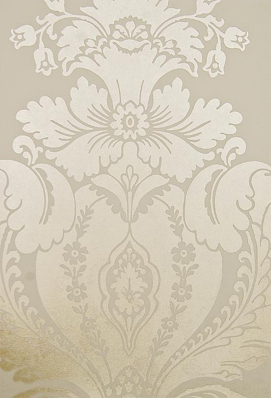 Print Metallic Mottled Gold Damask Design Wallpaper On Cream Paper 534x783