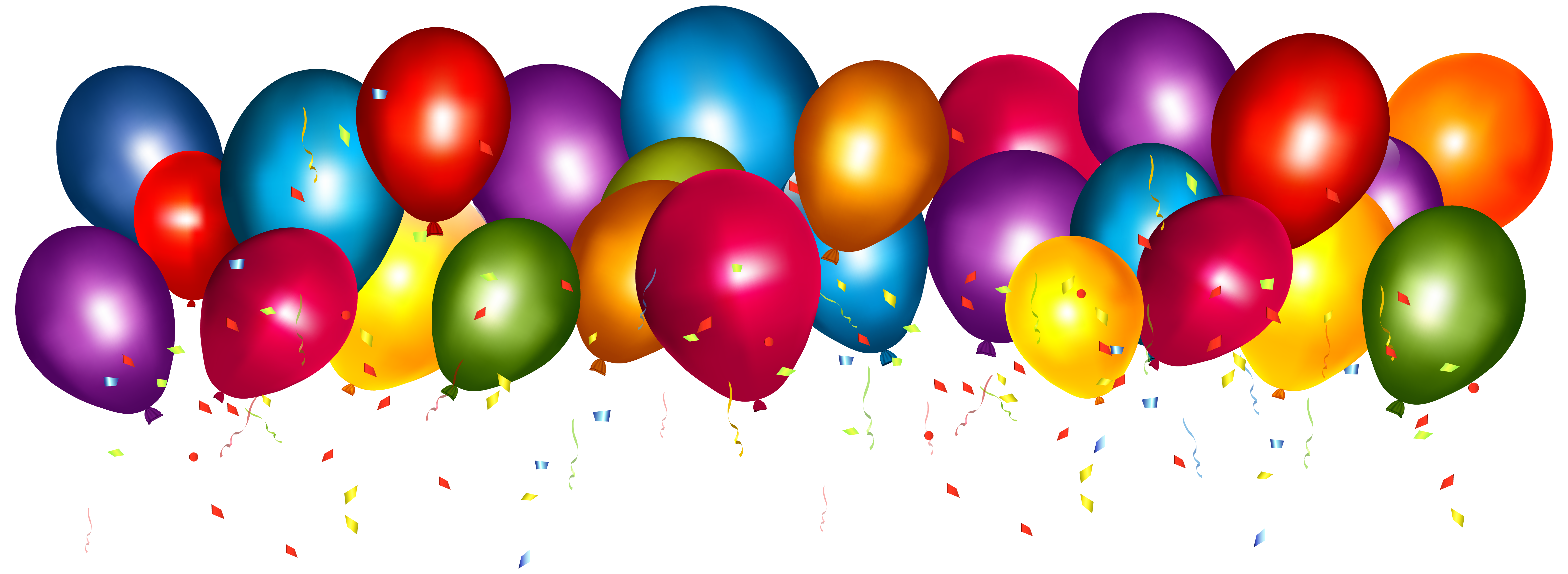 Transparent Colorful Balloons with Confetti PNG Clipar 6250x2287