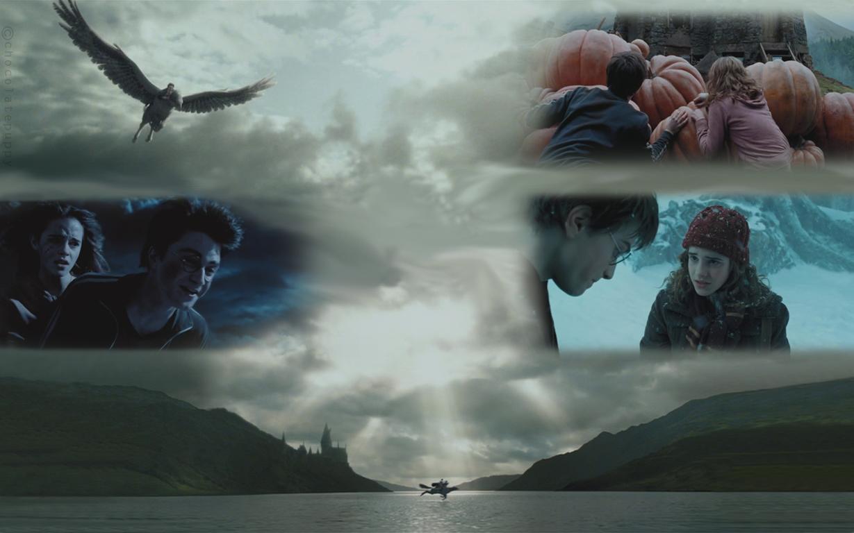 Harry Hermione and Buckbeak by chocolatepuppy 1229x768