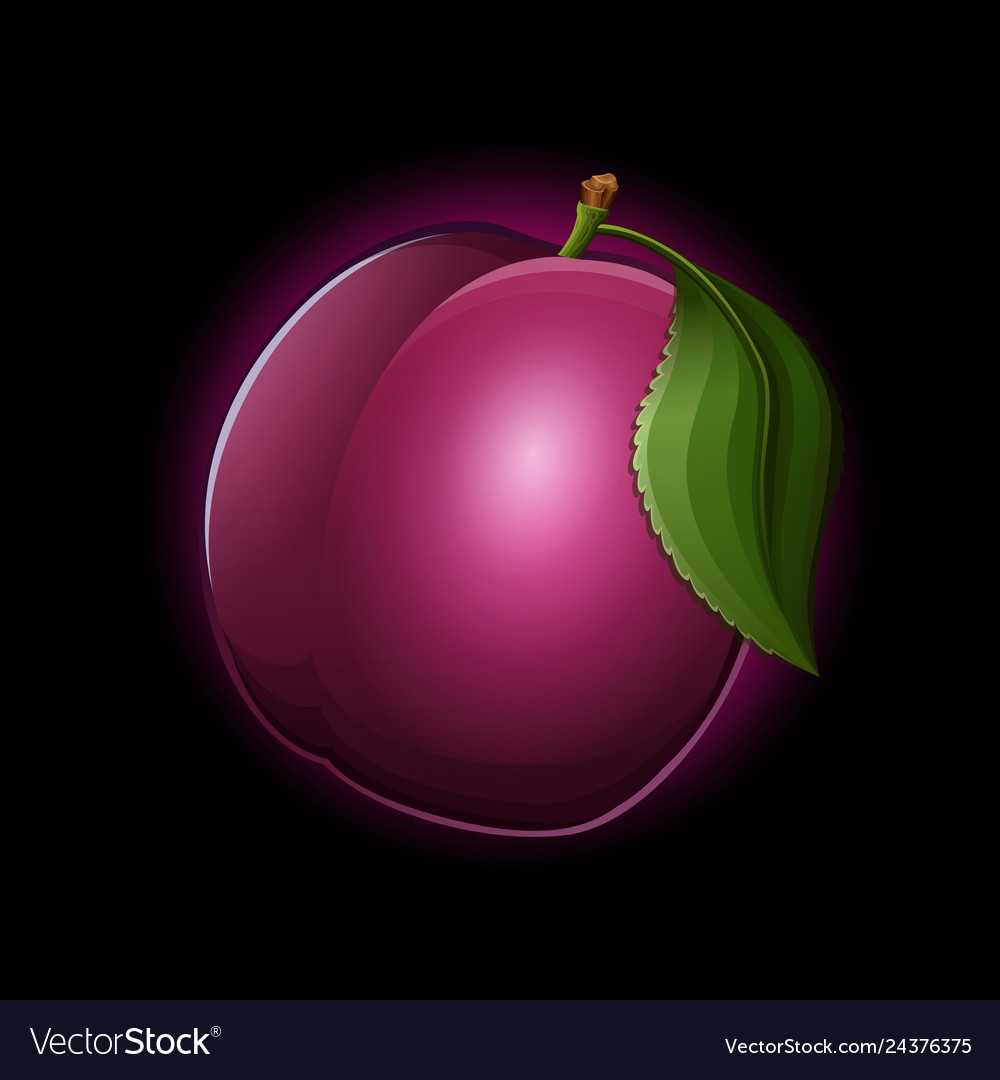 Plum icon isolated on black background Royalty Vector 1000x1080