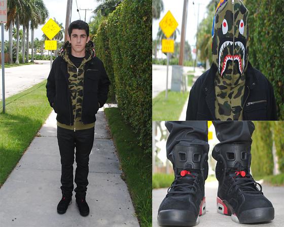 Chris Fisher   Bape Shark Hoodie Waxed Empyre Pants Nike Air Jordan 560x448