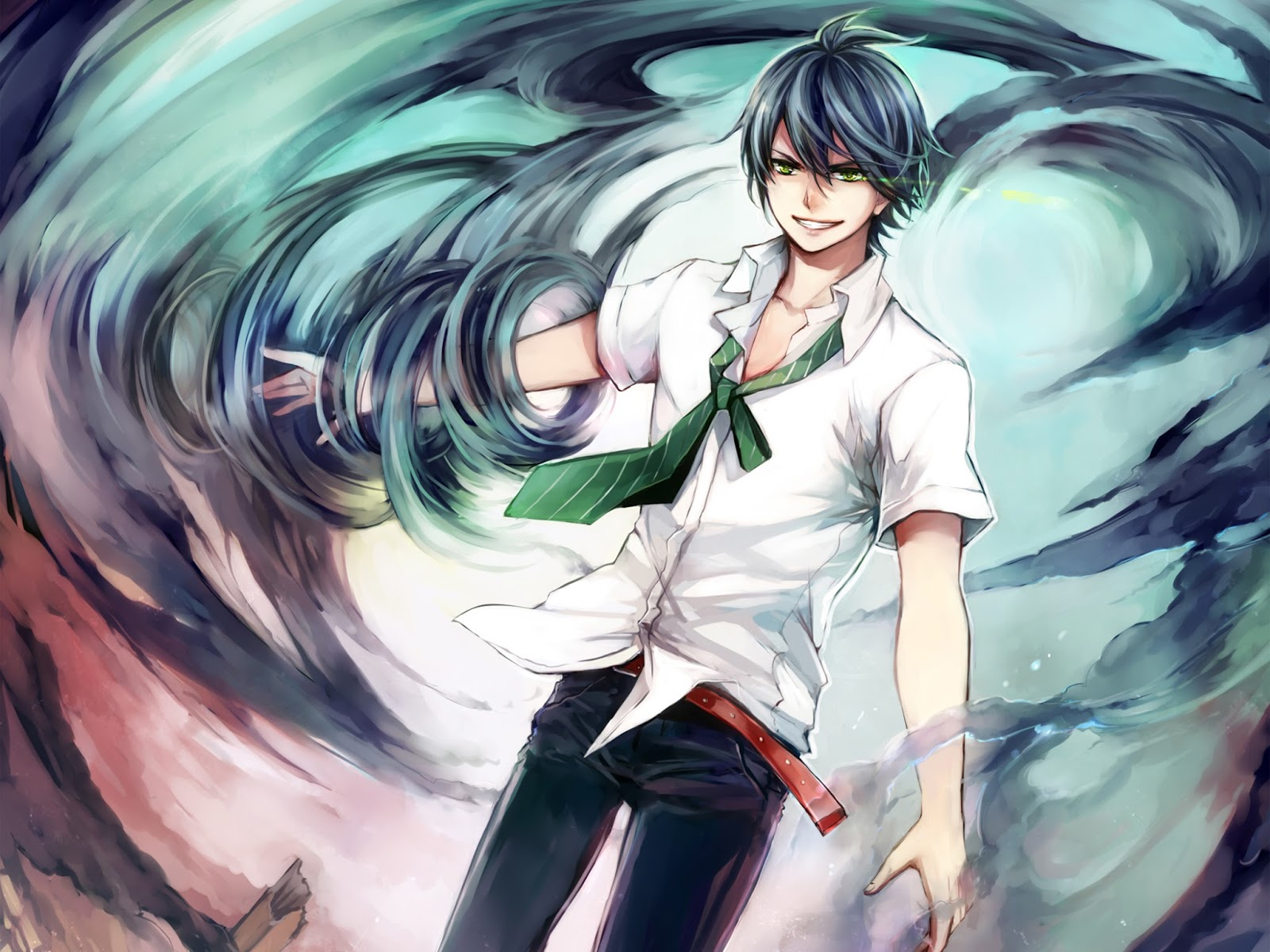 Anime Male Wind Grin Smile HD Wallpaper Backgrounds Image Photo 1600x1200
