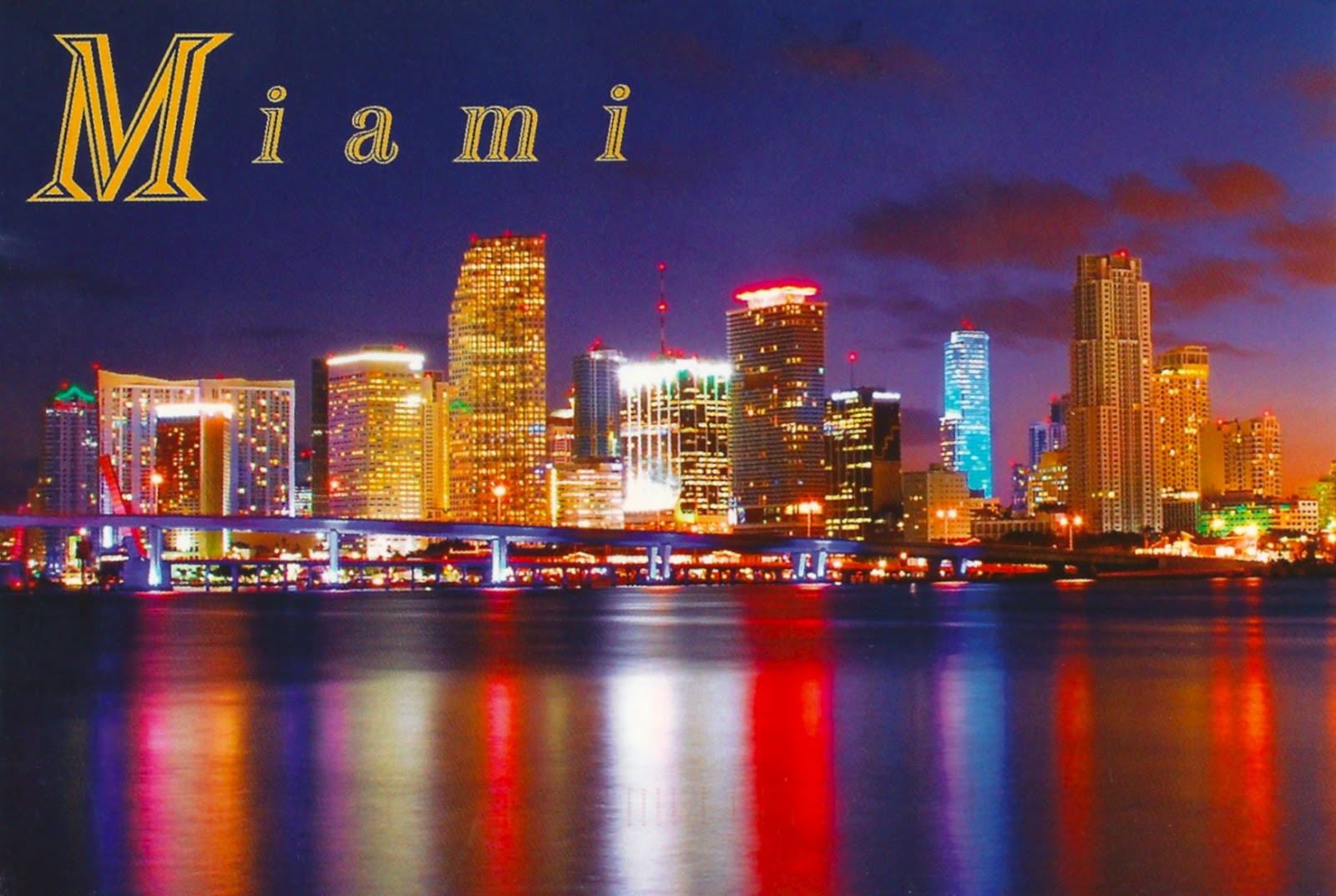 Florida   Miami Skyline at Night 1600x1073