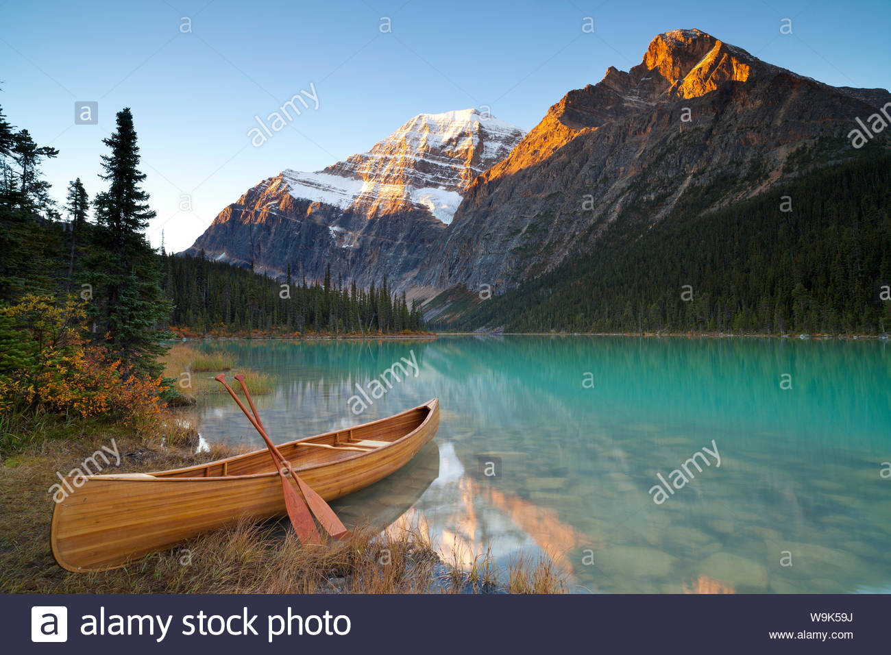 Canoe at Cavell Lake with Mount Edith Cavell in the background 1300x956