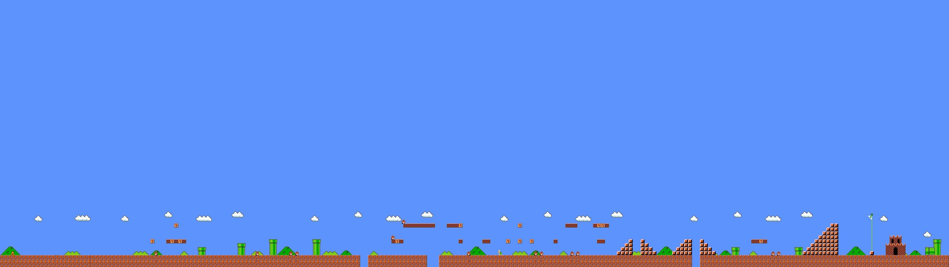 Screen Multi Multiple Videogame Game Jeu Video Mario Bross Wallpaper 3840x1080