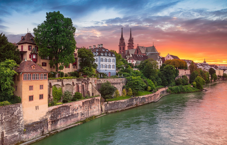 Wallpaper sunset river building home Switzerland Switzerland 1332x850