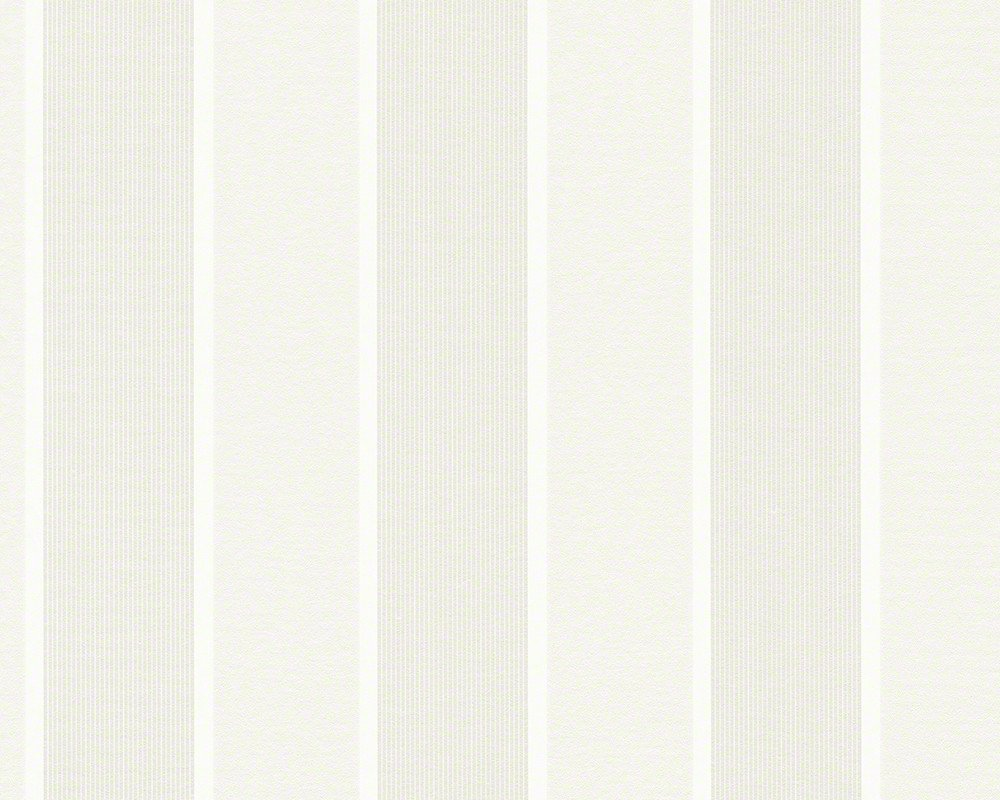 Sample of Wide Stripes Wallpaper in Cream and White design by BD Wall 1000x800