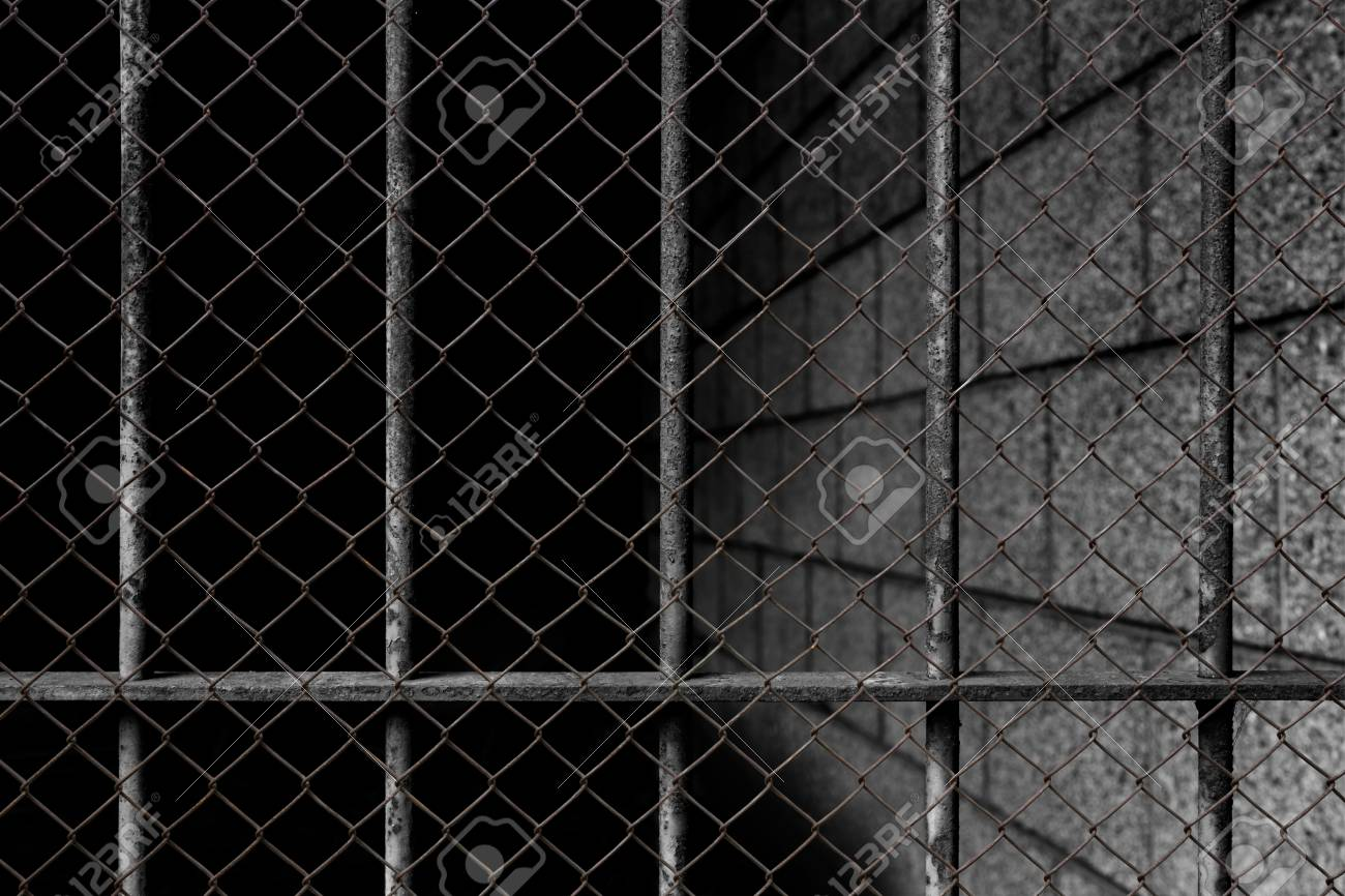 The Cage Fence Overlap With Old Prison Bars Cell Lock Background 1300x866