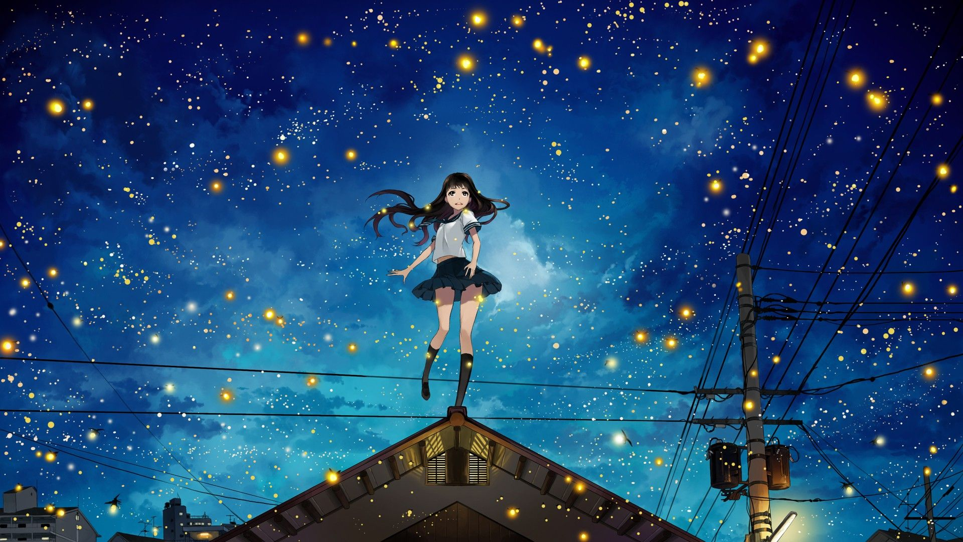Free Download Photo Collection Anime Night Sky With 1920x1080 For Your Desktop Mobile Tablet Explore 88 Anime Sky Wallpapers Anime Sky Wallpapers Sky Wallpaper Sky Backgrounds