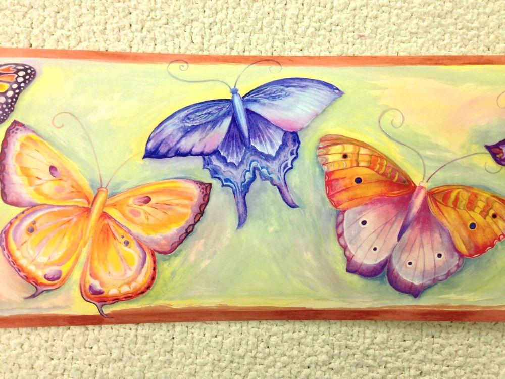 Watercolor Butterflies Wallpaper Border eBay 1000x750