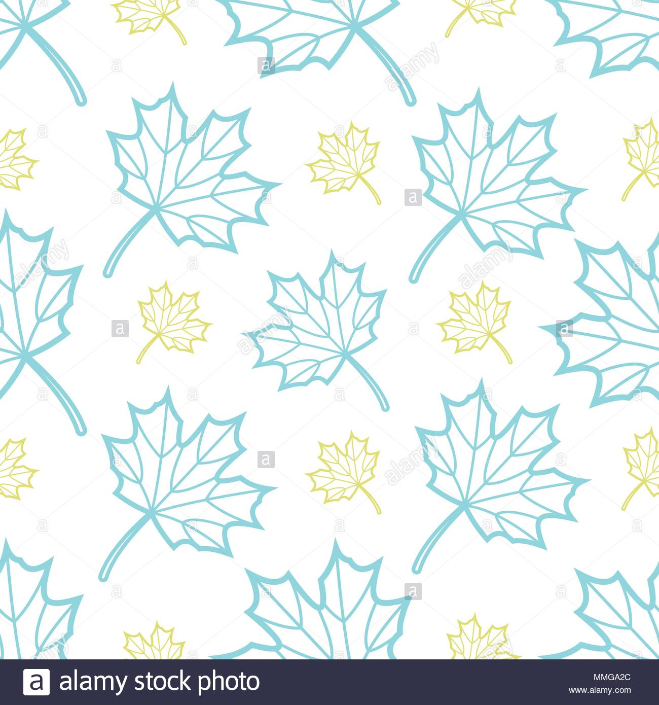 Cute blue and gold outline maple leaves random on white background 1300x1390