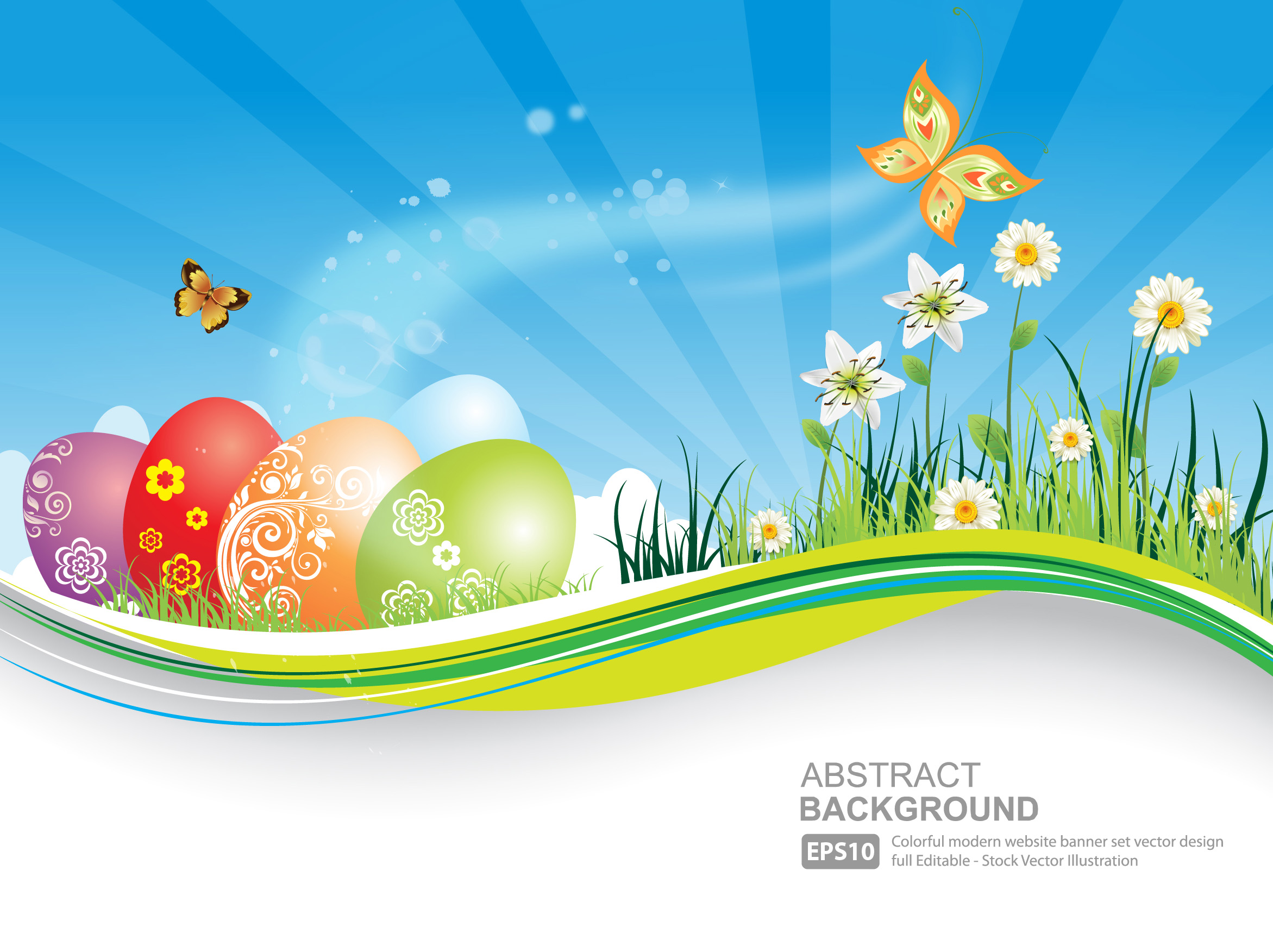Easter Natural Banner With Eggs Background Blue Butterfly Vector 2343x1752