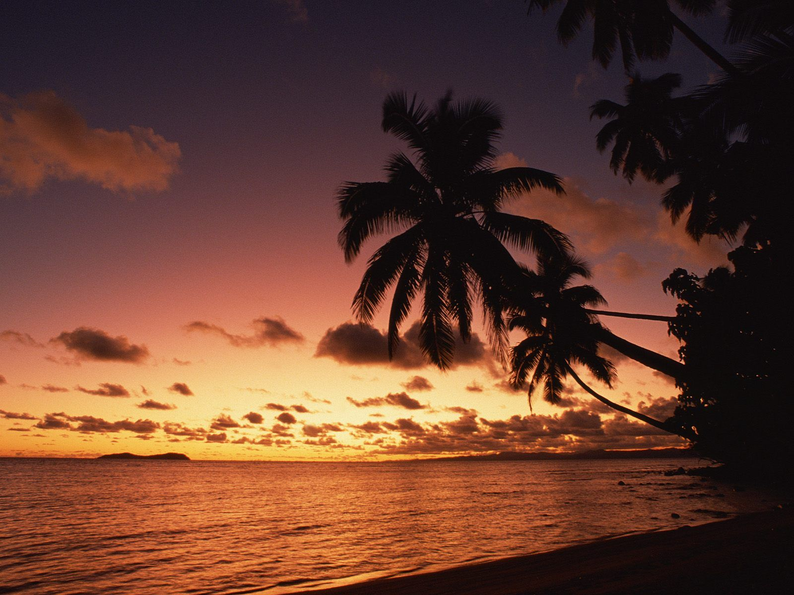 Island Sunset Fiji Nature 1600x1200
