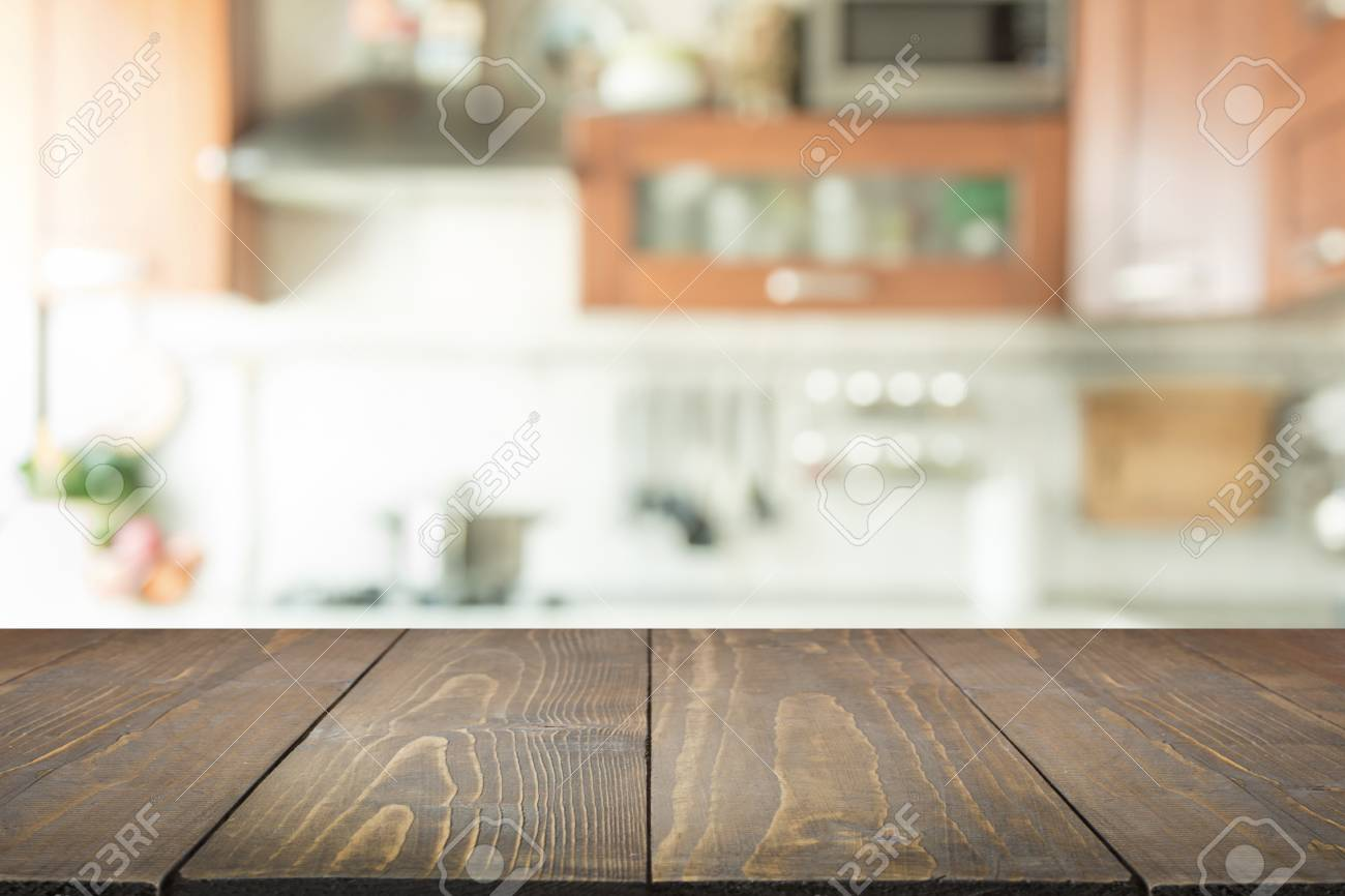 Blurred Abstract Background Modern Kitchen With Tabletop And 1300x866