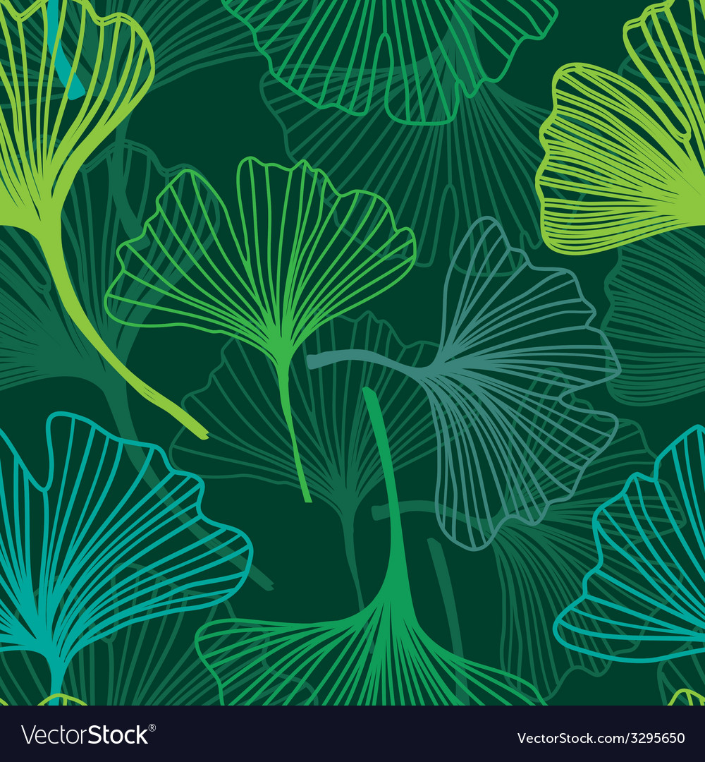 Seamless decorative flower background with ginkgo Vector Image 1000x1080