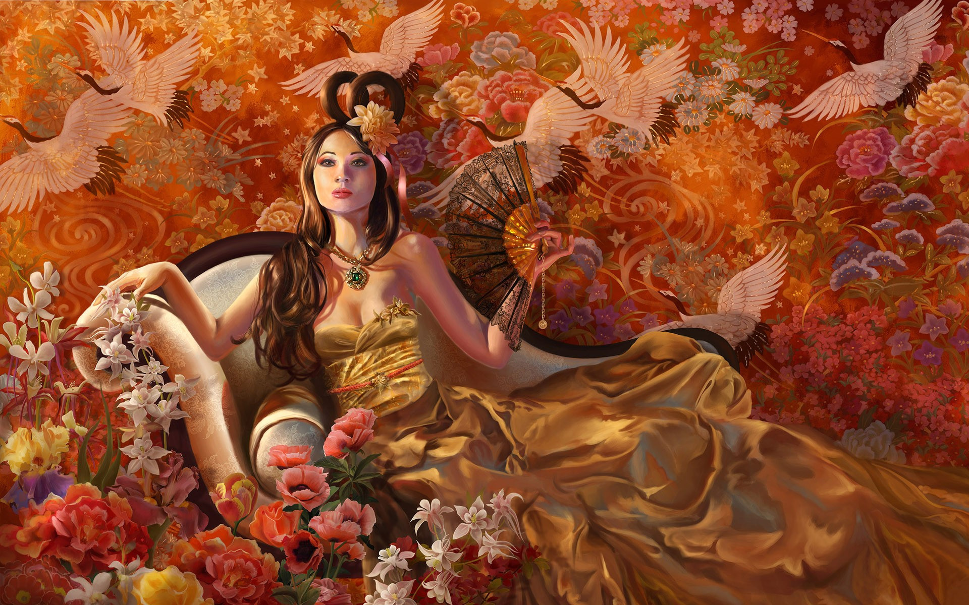 Geisha relaxing wallpaper 3234 1920x1200