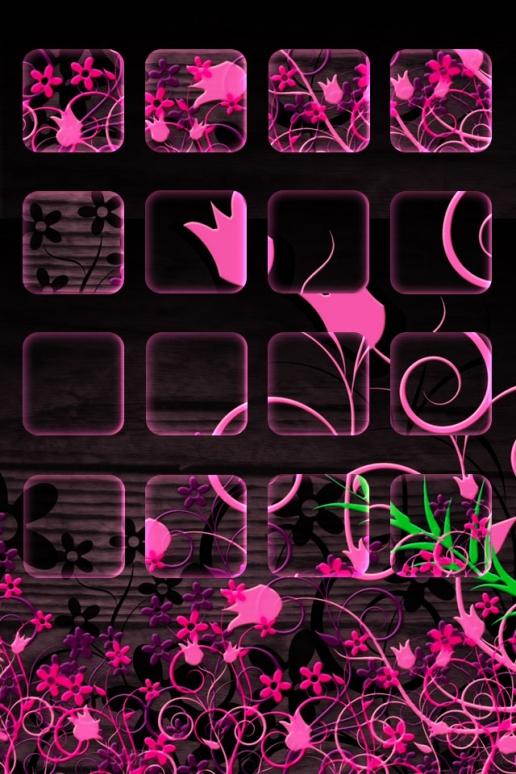 Pink and black Flower Shelf iPhone HD Wallpaper 516x774