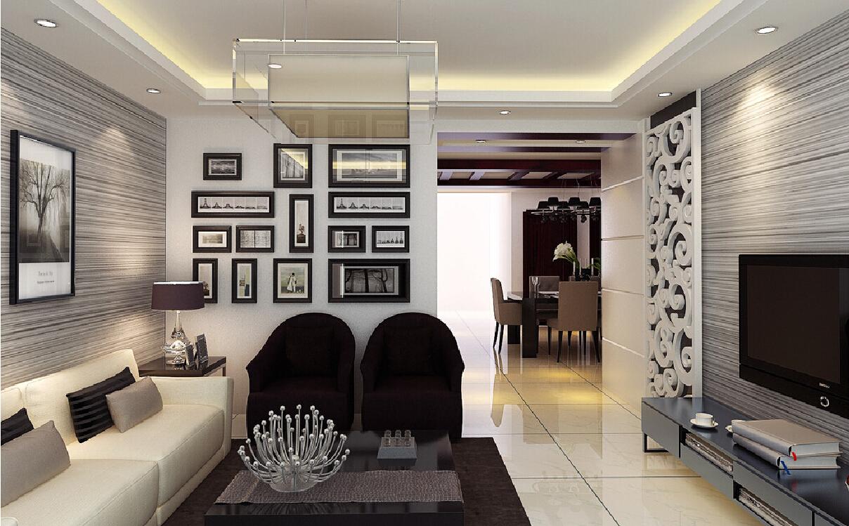 3D living room with gray horizontal stripe wallpaper 1208x749