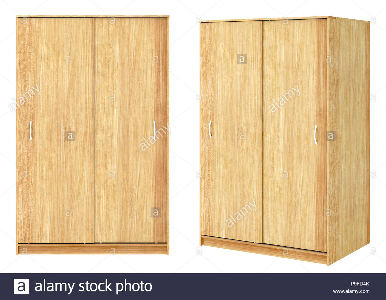 Two views of wooden wardrobe with closed sliding doors isolated on 1300x1011