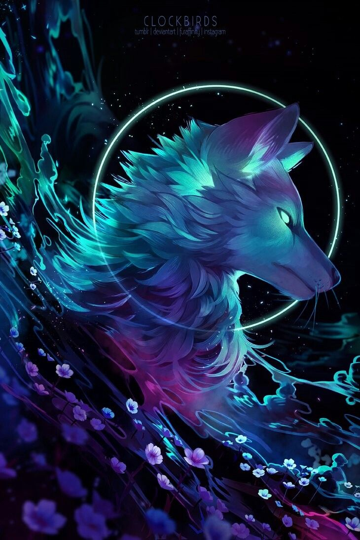 Wolf flowers space universe water Anime wolf Animal drawings 730x1095