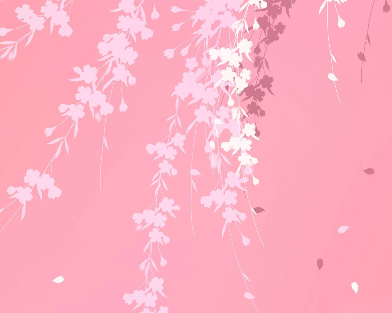 Pink background branches windows 7 hd Wallpaper High 1280x1024