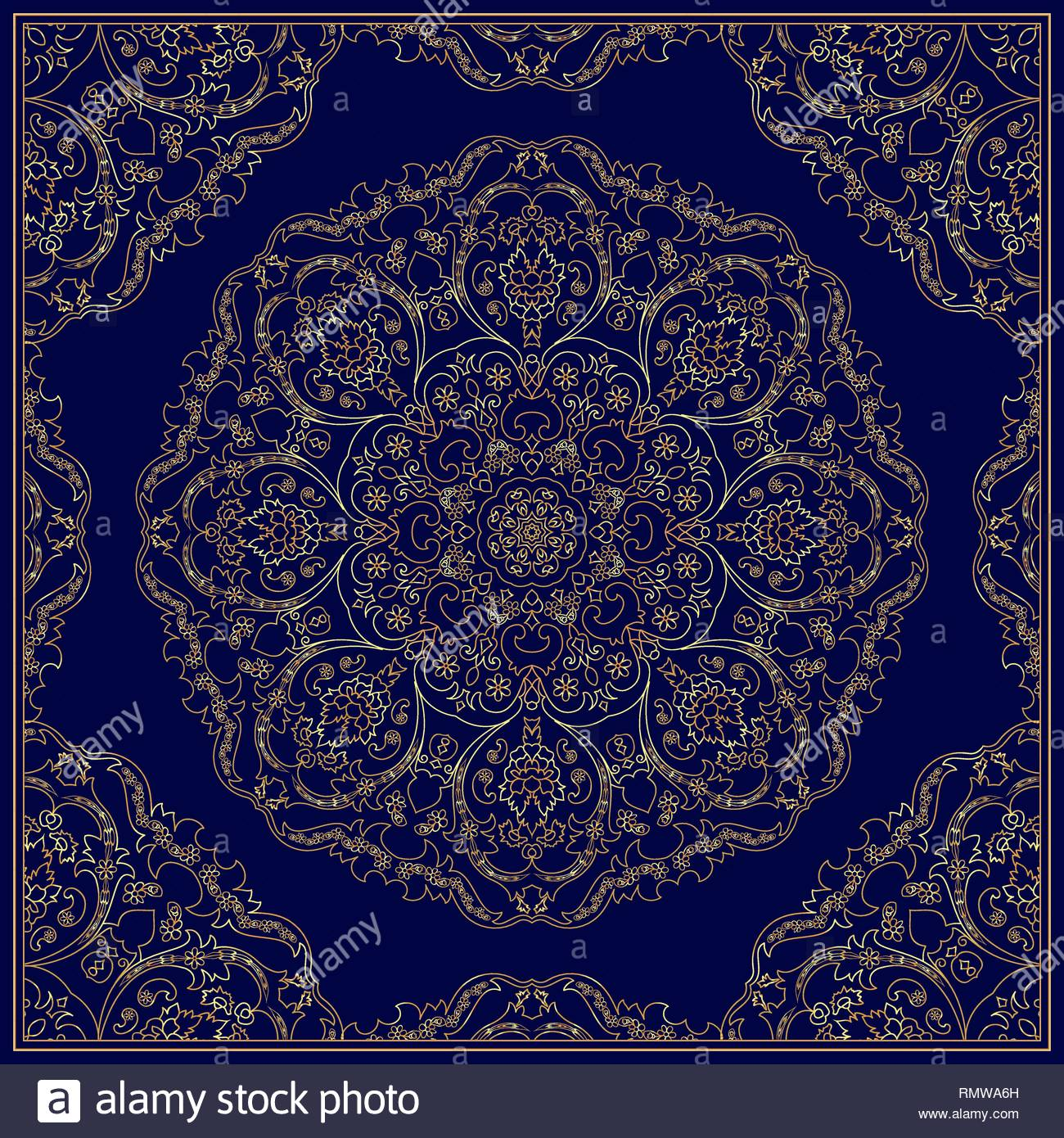 Ornament for scarf with gold pattern on blue background You can 1300x1390